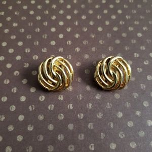 3 for $20 SALE Gold Swirl Button Clip On Earrings